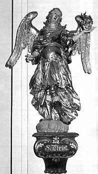 """The 4th Archangel, Uriel/Auriel/Oriel's name means """"Fire of God/God is My Light."""" """"God is my light."""" Other spellings of his name include Usiel, Uzziel, Oriel, Auriel, Suriel, Urian, and Uryan. Uriel is the Angel of Wisdom, bringing God's light if wisdom to reveal truth. Patron Saint of the Sacrament of Confirmation. Picture of the statue of St. Uriel in the church of the 7 Archangels in Bavaria"""