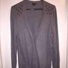 Torrid Heather gray cardigan with gold skulls *new Never been worn. Buttons up half way and has cute gold skull buttons on shoulders (all in tact). torrid Sweaters Cardigans