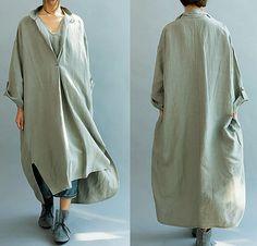 Donne Loose Fitting lino lungo abito / asimmetrica di MaLieb