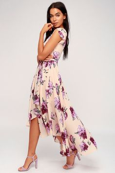 2fafc986929 French Countryside Blush Floral Print High-Low Dress
