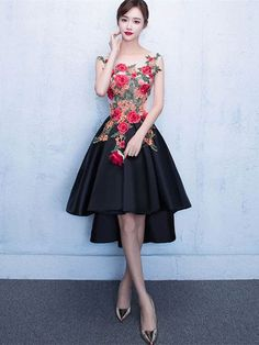 High Low Prom Dress Flower Applique Homecoming Dress Scoop Neckline A Line Graduation Dress