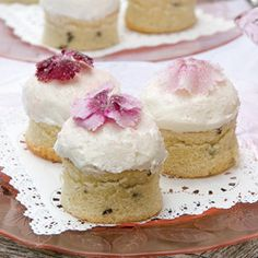Sweet William Mini Cakes ... Italian Meringue Buttercream Frosting atop dainty white mini cakes ... sweet treat for a spring ladies brunch!