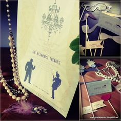 The Great Gatsby Inspired 20s theme party printables. Party Stationery, invitations, signage, photo booth props
