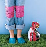 New Uses for Plastic Bags...this is a great idea to keep your jeans clear of dirt and waterproof them all at once!