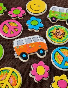 Peace and Love decorated sugar cookies- hippie van, tie dye