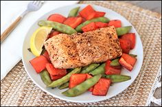 Flavorful food with practically no cleanup.! Hungry Girl's Balsamic Honey Salmon 'n Veggies & Pineapple Jerk Chicken!