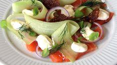 Salat av lett syltet laks Caprese Salad, Cooking Recipes, Chef Recipes, Insalata Caprese, Recipies, Recipes