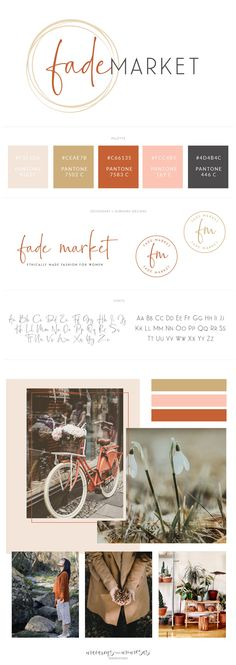 This rustic chic handwritten calligraphy script style logo design and branding board was created for Fade market boutique. Rustic Coppers, gold pink and burnt orange give a shabby chic look by Macarons and Mimosas Rustic Logo, Rustic Chic, Shabby Chic, Cake Branding, Branding Design, Baking Logo Design, Handwritten Logo, Boutique Logo, Custom Logo Design