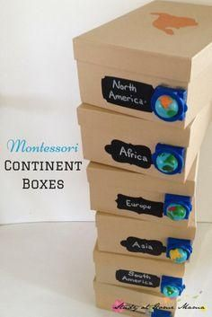 Montessori Continent Boxes and an exciting announcement about hands-on geography with kids! How to Make Montessori Continent Boxes, a fun hands-on learning component to a Montessori Geography curriculum - includes list of materials & tips! Montessori Homeschool, Montessori Classroom, Montessori Activities, Montessori Elementary, Learning Activities, Dinosaur Activities, Leadership Activities, Hands On Geography, Geography For Kids