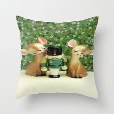 The Nutcracker Throw Pillow by Vintage  Cuteness - $20.00 #vintage #nutcracker #christmas #xmas #deer #fawn #bambi #green #pillow #floral #flowers #home #children's #kitsch