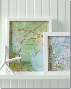 Hand stitched vacation route. Wouldn't a bunch of these look really cool all lined up on a wall?