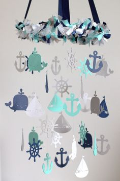 LARGE Nautical Nursery Mobile in Navy, Aqua, Gray & White  ♥♥♥PLEASE READ BEFORE PURCHASE!!! : All mobiles are HANDMADE TO ORDER, they are NOT