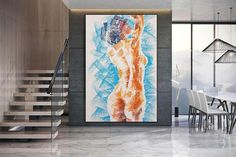 Nude art canvas painting texture artwork canvas wall art image 2 Large Painting, Acrylic Painting Canvas, Body Painting, Texture Art, Texture Painting, Colorful Artwork, Extra Large Wall Art, Office Wall Art, Modern Wall Decor