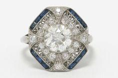Large Diamond Blue Sapphires Art Deco Era Platinum Engagement Ring Octagon Shape | eBay