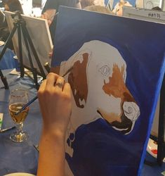 PAINT YOUR PETS. A student working on their Pet at our top quality paint classes at Winnipeg Art & Wine - Paint Your Pet Paint Your Pet, Wine Painting, Student Work, Tote Bag, Pets, Top, Carry Bag, Tote Bags, Shirts