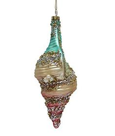December Diamonds Rainbow Tulip Sea Shell Glass Christmas Ornament -  Beach