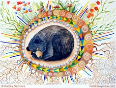 'Hibernating Bear Totem' Throw Pillow by Hadley Seymore Spirit Bear, Spirit Animal, Art And Illustration, Bear Totem, Bear Paintings, Whimsical Owl, Bear Drawing, Bear Art, Woodland Creatures