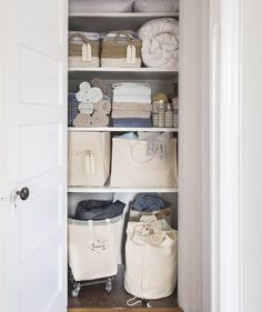 Closet organizing tip: Items should be stored by frequency of use. If you only use the air mattress a few times a year, don't stash it front and center in the linen closet. Linen Closet Organization, Budget Organization, Small Space Organization, Closet Storage, Storage Spaces, Bathroom Organization, Storage Ideas, Linen Cabinets, Closet Hacks