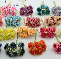 6 unids/lote gradiente de seda de mini flor color de rosa artificial ramo de la boda decoración de diy scrapbooking flor regalo guirnalda