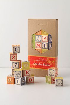 Alphabet blocks. Anthropologie $38 k has these and loves the animals