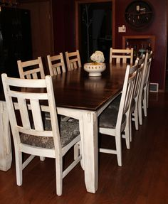 Table and chairs makeover, Annie Sloan old White and General Finishes Java Gel. www.facebook.com/rusty2revival
