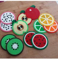 Fruit coasters perler beads by Lilie Swee week for creative ways to make extra money from home? What better way than to sell DIY projects you made?Guess the fruit Hama Beads Coasters, Diy Perler Beads, Perler Bead Art, Melty Bead Patterns, Hama Beads Patterns, Beading Patterns, Melty Bead Designs, Art Perle, Motifs Perler