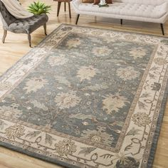 Nourison Hand-tufted Caspian Blue Wool Rug (3'6 x 5'6)