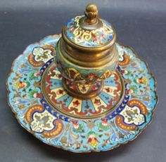 Superb-19th-C-French-Champleve-Enamel-Inkwell-on-Bronze-c-1870s