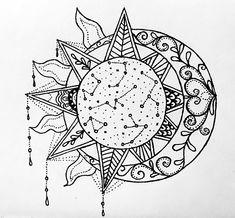 'Sun, Moon and Stars outline' Photographic Print by Delaney Borne Shoulder Cap Tattoo, Mandala Tattoo Shoulder, Moon Star Tattoo, Half Moon Tattoo, Sun And Moon Mandala, Sun Moon, Mandala Tattoos For Women, Celtic Tattoos, Tattoo Ideas