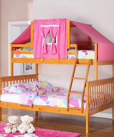 Honey & Pink Mission Twin & Full Tent Bunk Bed