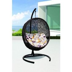 LexMod Cocoon Wicker Rattan Outdoor Wicker Patio Swing Chair, Suspension Series