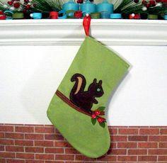 Felt squirrel stocking