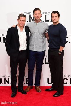 Henry Cavill, Hugh Grant and Armie Hammer attending the Man From U.N.C.L.E photocall via Henry Cavill News