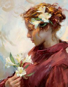 ⊰ Posing with Posies ⊱ paintings & illustrations of women & children with flowers - Daniel F. Gerhartz
