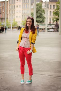 Yellow, Red, Green Sneakers
