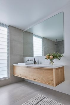 Timber vanities warming up contemporary bathroom designs 💙 Add extra warmth by adding details like a pot plant, flowers, a candle, timber… Bathroom Design Layout, Bathroom Colors, Bathroom Interior Design, Modern Master Bathroom, Minimalist Bathroom, Master Bathrooms, Bathroom Renos, Bathroom Renovations, Bathroom Faucets
