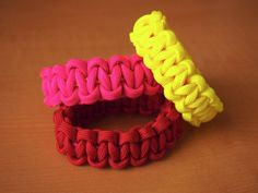 New spin on macrame - this easy bracelet made from military paracord and a covered hairband. There are some great colors and the cord is thick enough that the bracelet can be whipped up in no time. http://www.parachute-cord.com/ http://www.paracordplanet.com/Paracord_c_1.html?gclid=CPOvvoiOuLACFUMCQAodJx8-7g