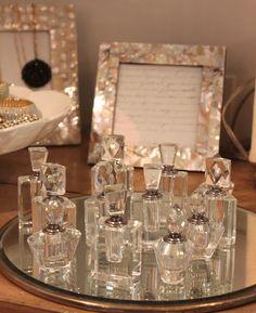 52 FLEA: Taken For Granite in September 2012 ~ mini crystal perfume bottles Perfume Display, Crystal Perfume Bottles, Shabby Vintage, Vanity Set, Smell Good, Fleas, Pretty Little, Granite, Sweet Home