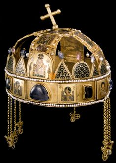 The Holy Crown of Hungary, known as such since 1265, weighs a little over 2kg is oval and quite a bit larger than a man's head. It can be seen on display at the Hungarian Parliament Building.