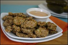 Hungry Girl Faux-Fried Pickles. MAYBE this will satisfy my fried pickle obsession...