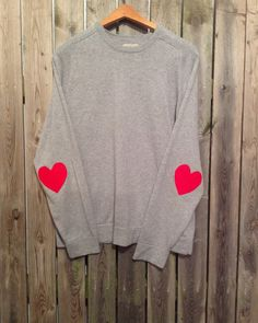Hipster sweater with heart elbow patches by Cranberrymoondesigns