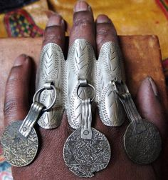 Old Berber adjustable 3- fingers Ring with Coins  #rareantique #berberring #oldring     BY ineke hemminga  https://www.etsy.com/shop/TuaregJewelry