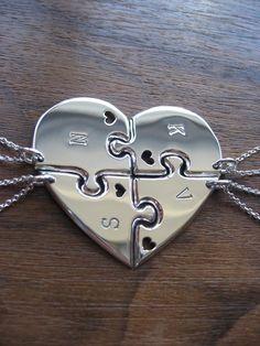 Four+Piece+Heart+Best+Friend+Pendant+Necklaces+by+GorjessJewellery,+£176.00