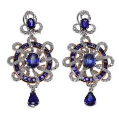 Sapphire Diamond Gold Wheel Earrings - Signed Luise
