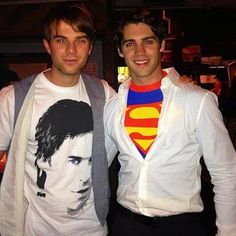 Steven R. McQueen of The Vampire Diaries went as Superman and Nathaniel Buzolic sports an Ian Somerhalder tee fpr Halloween