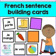 French sentence building cards - great for daily 5 / 5 au quotidien centres and for small group instruction in your French Immersion classroom! Learn To Speak Spanish, Learn Spanish Online, How To Speak French, Learning French For Kids, Teaching French, Learning Spanish, Learning Italian, Teaching Time, Learning Cards