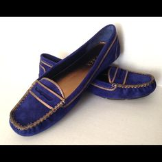 Lauren Ralph Lauren Penny Loafers Lauren Ralph Lauren cobalt blue penny loafers. Size 7.5. Worn 1x . Like new condition. Celena Dark Sapphire Kidsuede. Lauren Ralph Lauren brings its classic posh-American style to the laid-back lines of the Celena moccasin. This rugged offering in leather boasts a square moc toe and penny-slotted strap for easy, timeless style that pairs well with yacht clubs and lake homes. A grippy wrap-around sole proves essential when putting the pedal to the metal of…