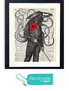 Gentleman Octo-Crow Upcycled Vintage Dictionary Art Print 8x10 from Vintage Book Art Co. https://smile.amazon.com/dp/B01B12S3OU/ref=hnd_sw_r_pi_dp_NWFiybKF6MPJ2 #handmadeatamazon