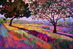 Wine Country California Color Impressionism Landscape Ltd Ed Print Giclee by Erin Hanson 30""