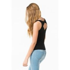 Sweetheart tank with twisted open back in black